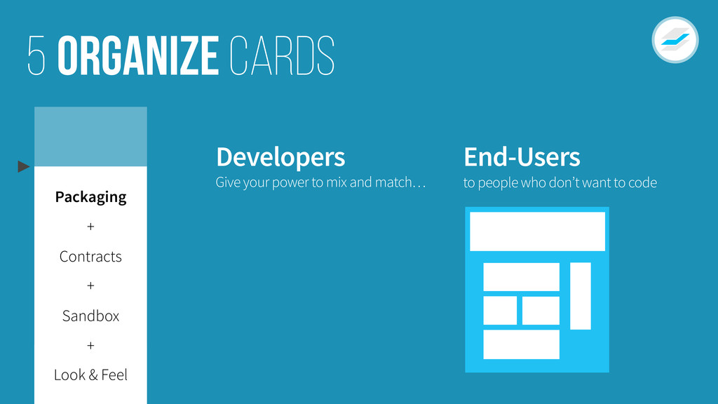 Organize cards 5 Developers End-Users Give your...