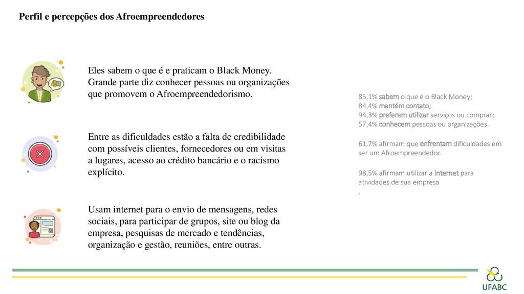 Perfil e percepções dos Afroempreendedores 85,1...