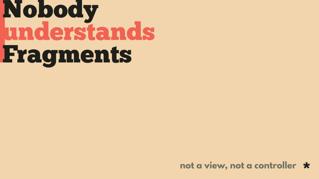 Nobody Fragments understands not a view, not a ...