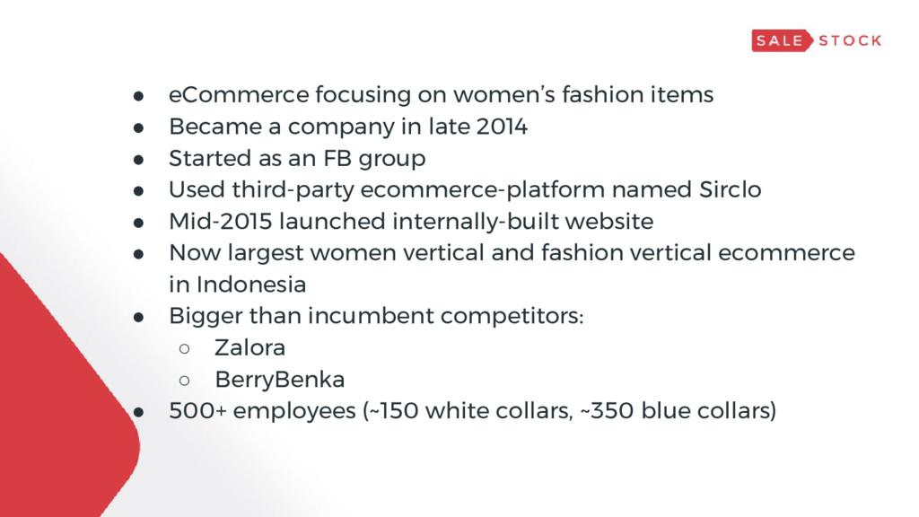 Sale Stock ● eCommerce focusing on women's fash...