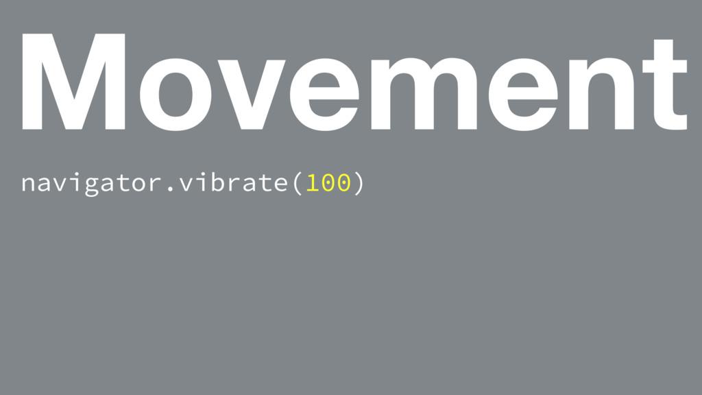 Movement navigator.vibrate(100)