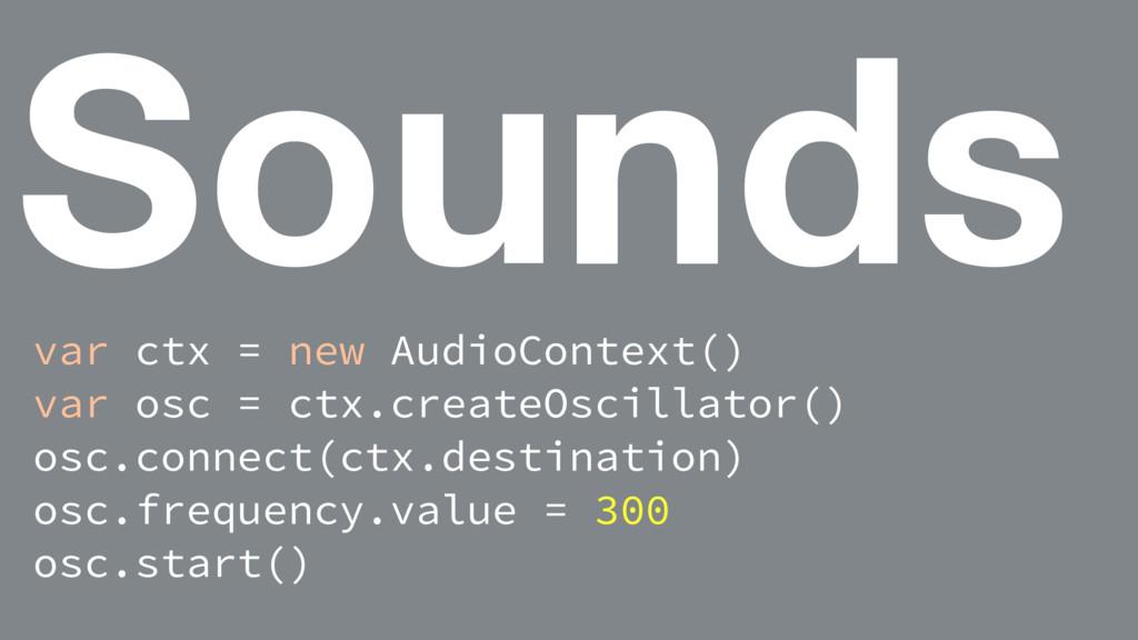 Sounds var ctx = new AudioContext() var osc = c...