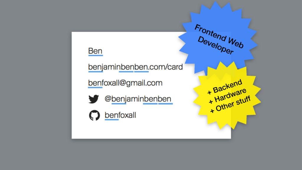 Frontend Web Developer + Backend + Hardware + O...