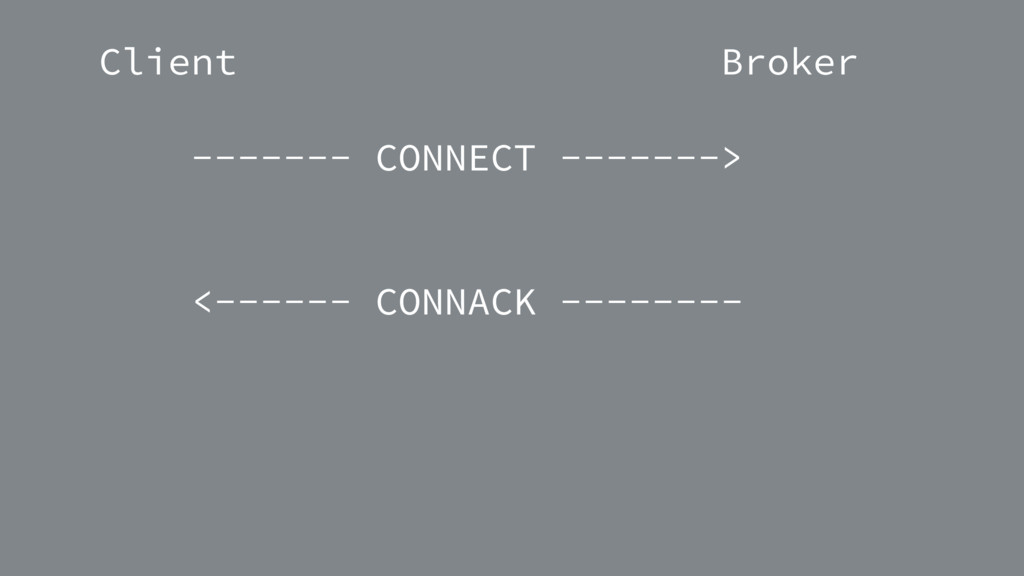 Client Broker ------- CONNECT -------> <------ ...