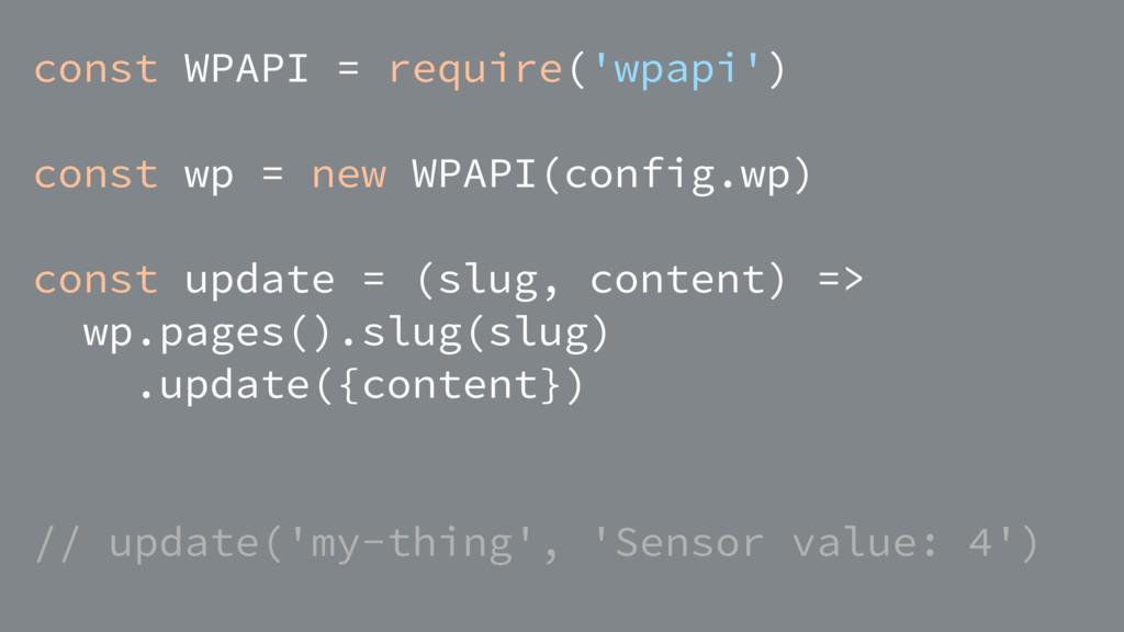 const WPAPI = require('wpapi') const wp = new W...