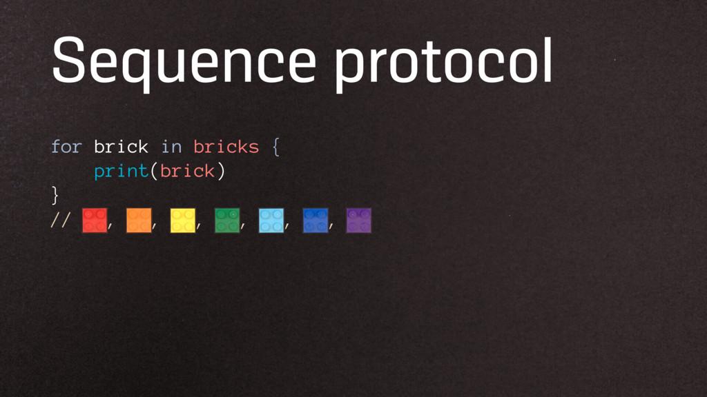 Sequence protocol for brick in bricks { print(b...