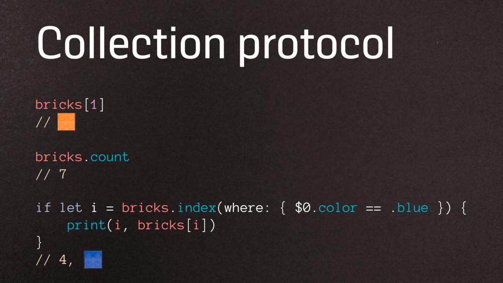 Collection protocol bricks[1] // if let i = bri...