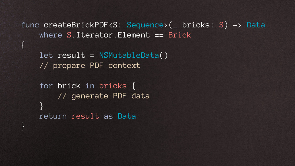 func createBrickPDF<S: Sequence>(_ bricks: S) -...