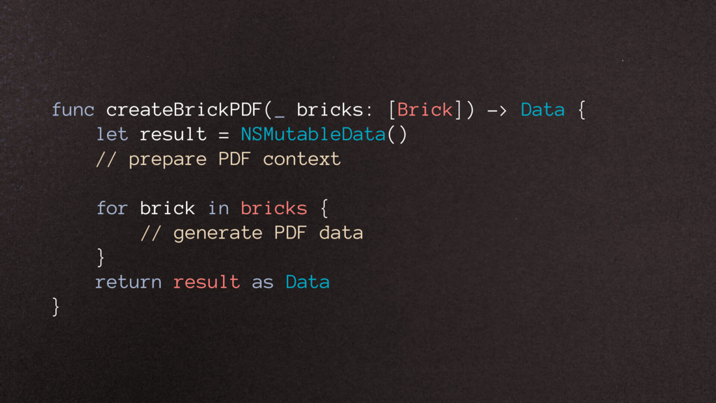 func createBrickPDF(_ bricks: [Brick]) -> Data ...