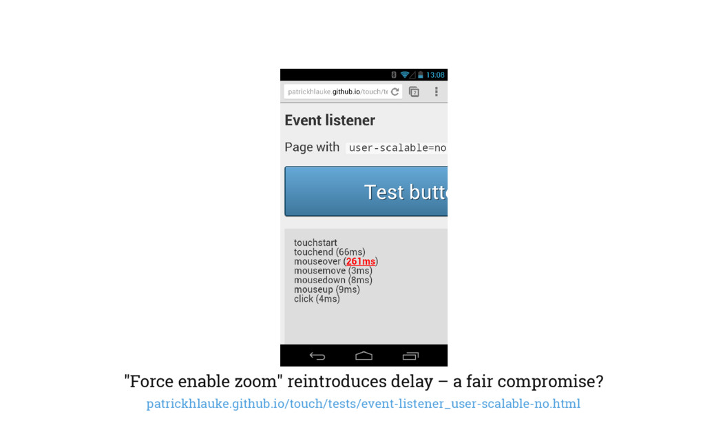"""Force enable zoom"" reintroduces delay – a fair..."