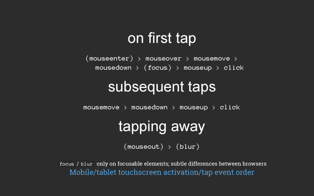 on first tap (mouseenter) > mouseover > mousemo...