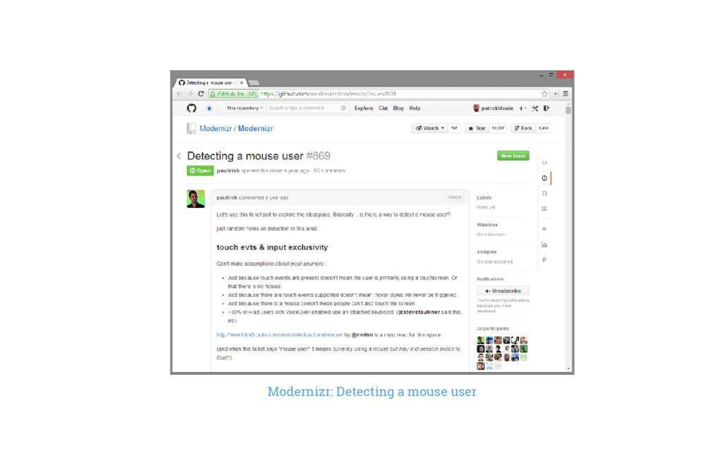 Modernizr: Detecting a mouse user
