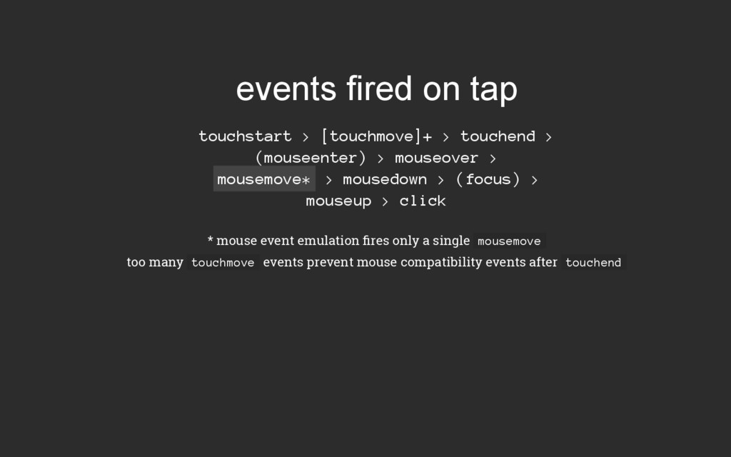 events fired on tap touchstart > [touchmove]+ >...
