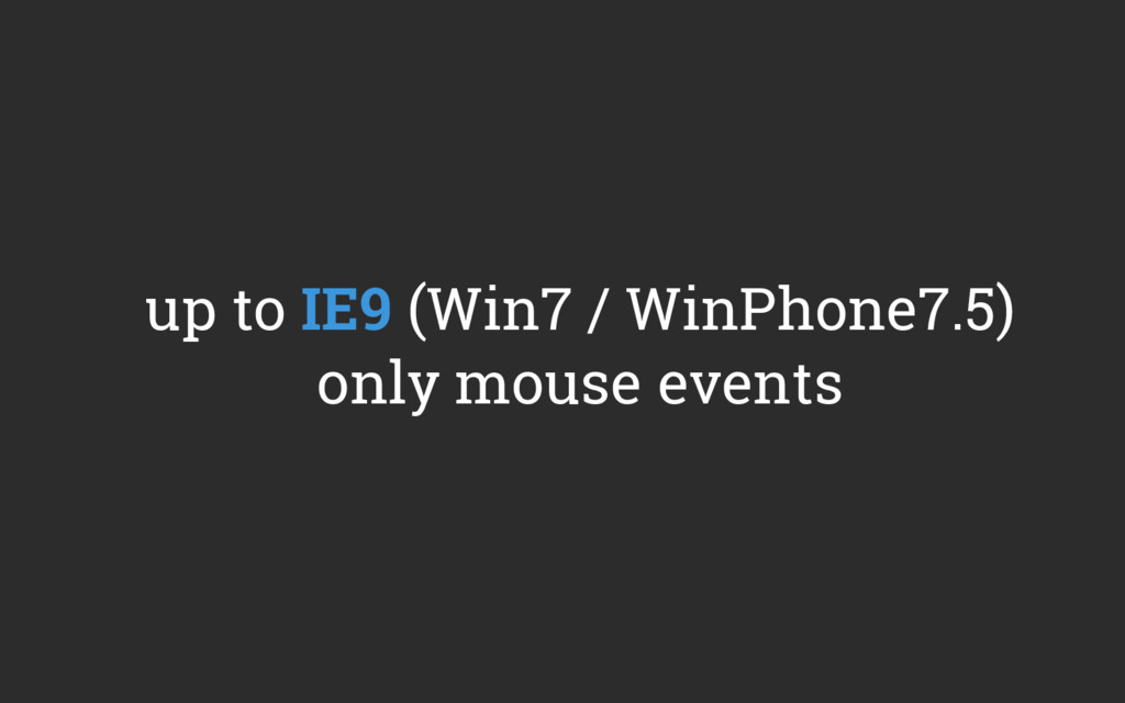 up to IE9 (Win7 / WinPhone7.5) only mouse events