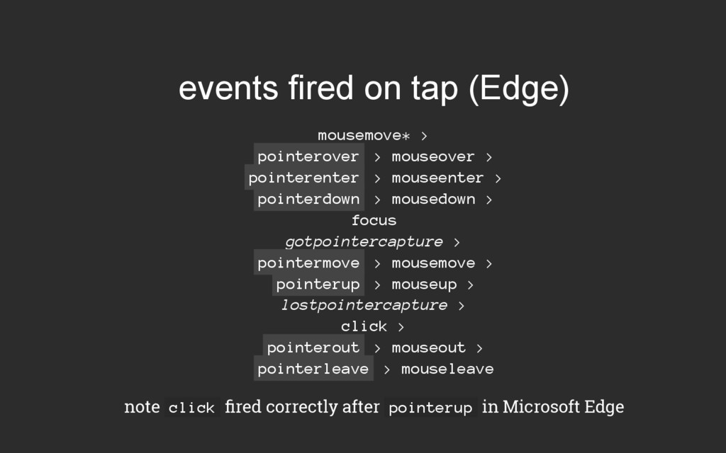events fired on tap (Edge) mousemove* > pointer...