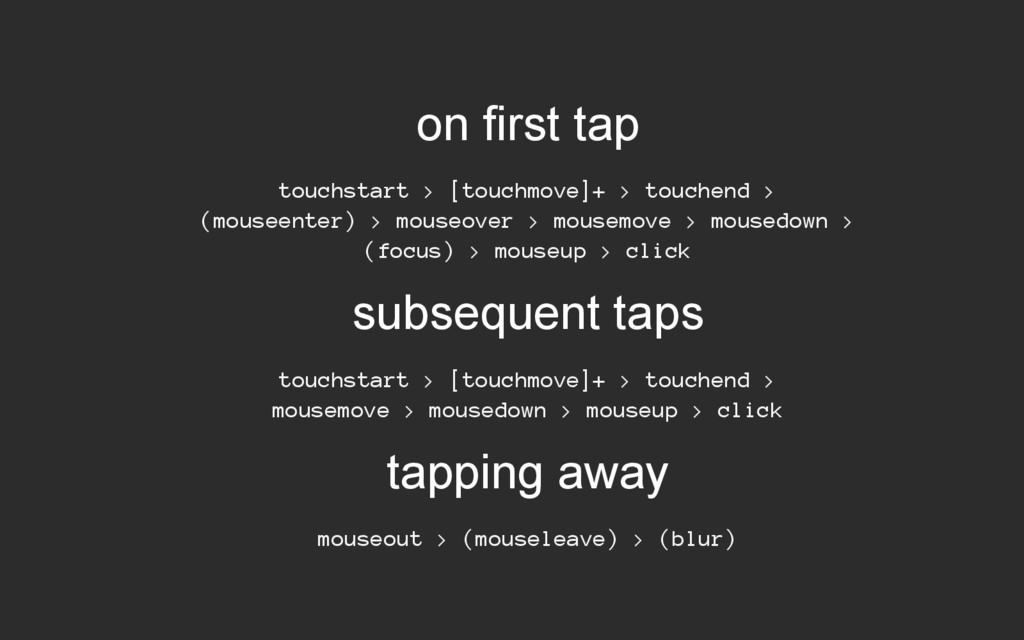 on first tap touchstart > [touchmove]+ > touche...