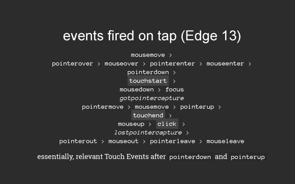 events fired on tap (Edge 13) mousemove > point...