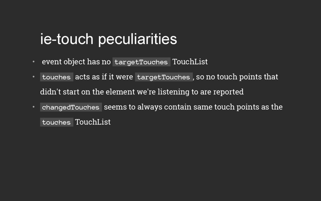 ietouch peculiarities •  event object has no ...