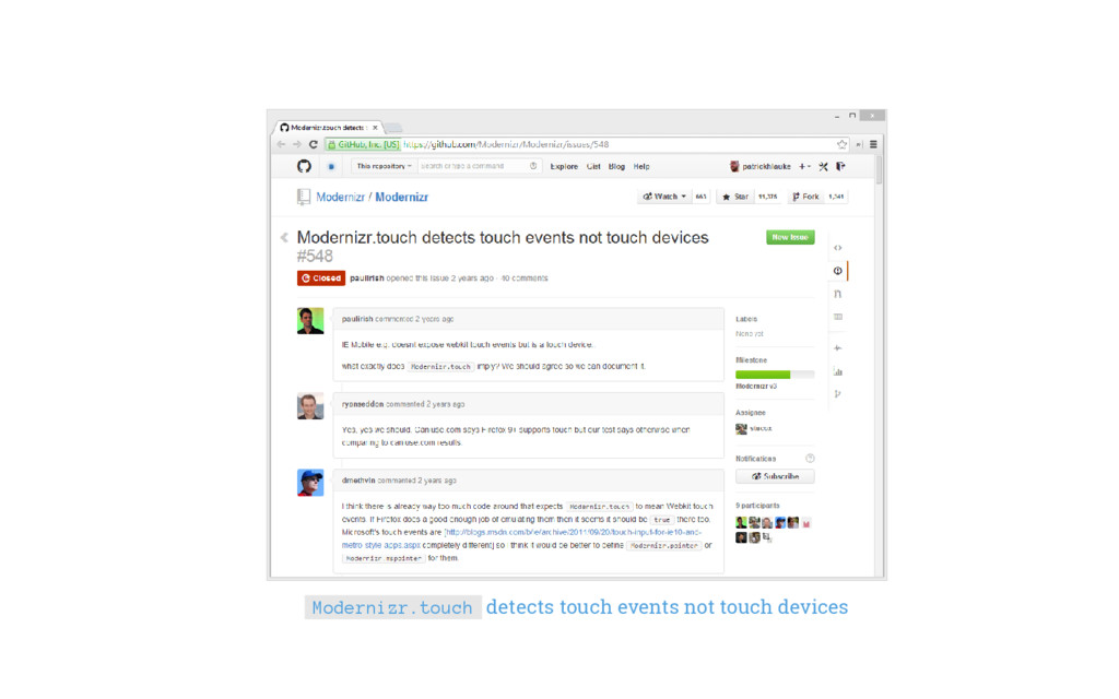 Modernizr.touch detects touch events not touch ...
