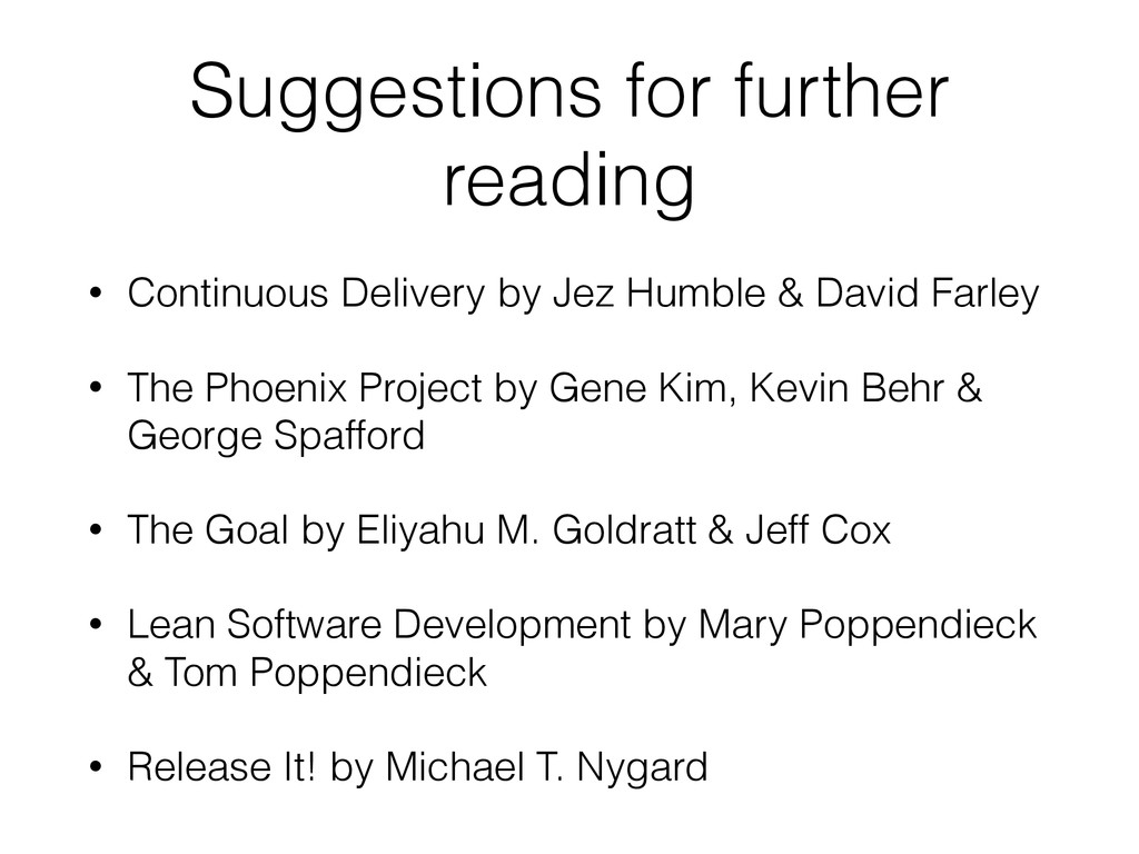 Suggestions for further reading • Continuous De...