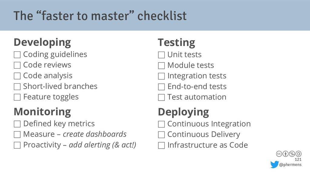 "121 @phermens The ""faster to master"" checklist ..."
