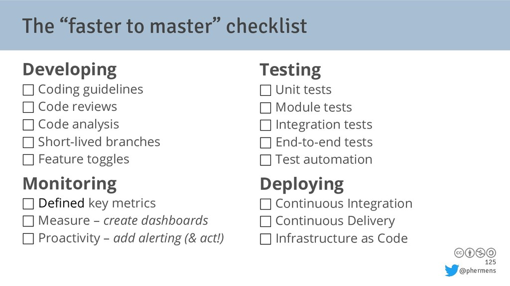 "125 @phermens The ""faster to master"" checklist ..."