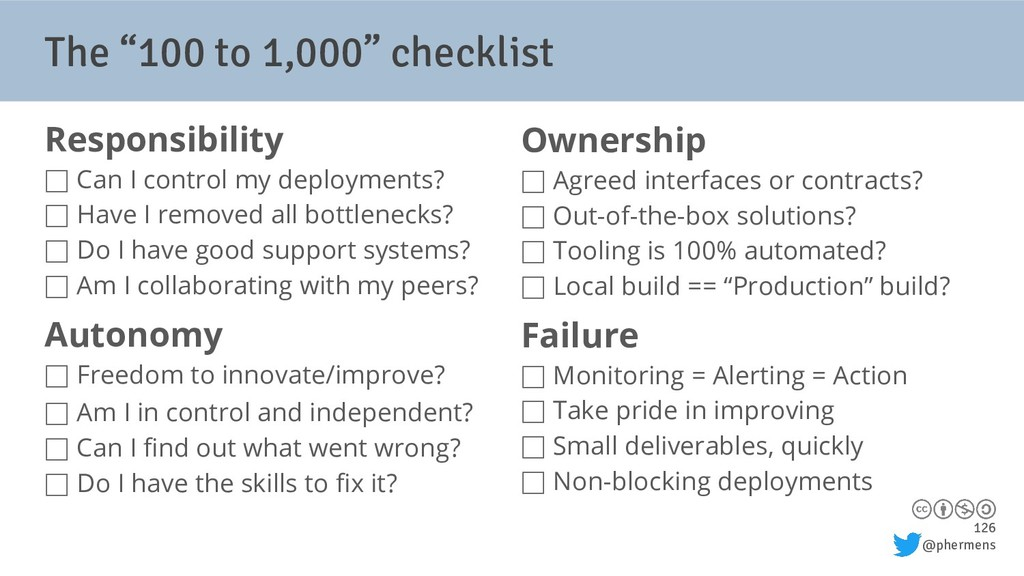 "126 @phermens The ""100 to 1,000"" checklist Resp..."