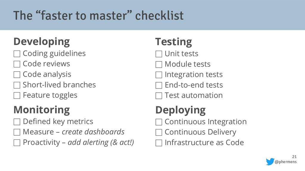 "21 @phermens The ""faster to master"" checklist D..."
