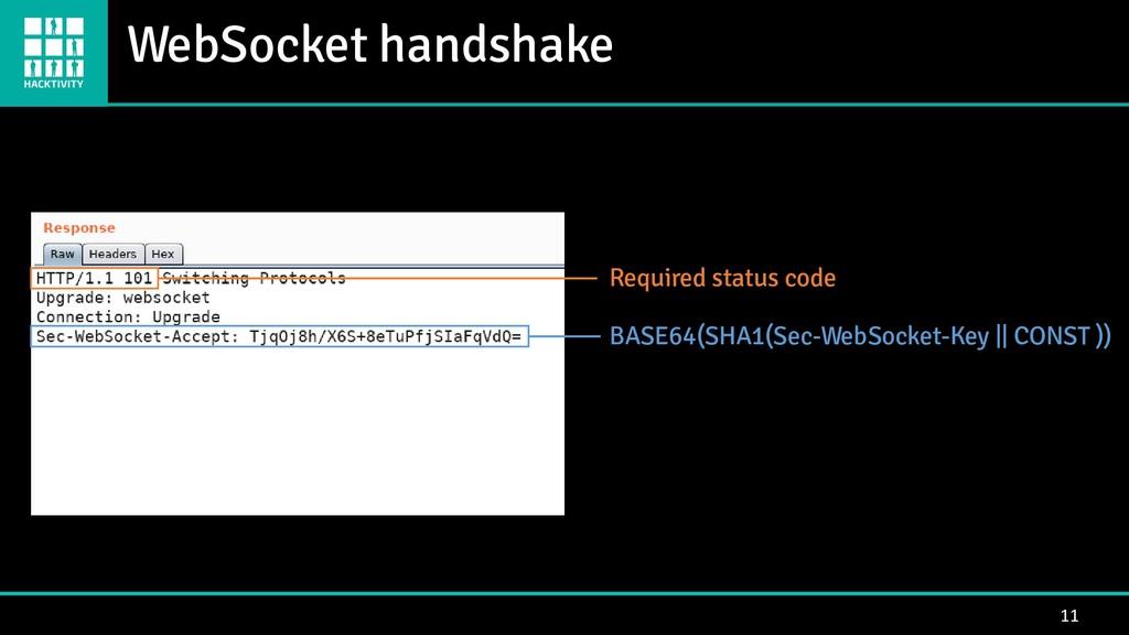 WebSocket handshake 11 Required status code BAS...