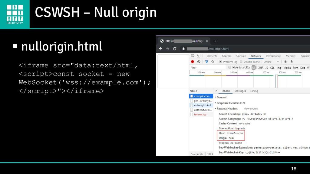 CSWSH – Null origin 18 ▪ nullorigin.html <ifram...