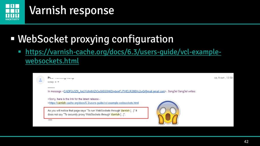 Varnish response 42 ▪ WebSocket proxying config...