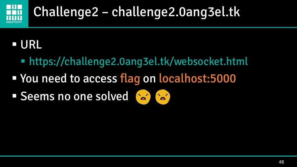 Challenge2 – challenge2.0ang3el.tk 48 ▪ URL ▪ h...