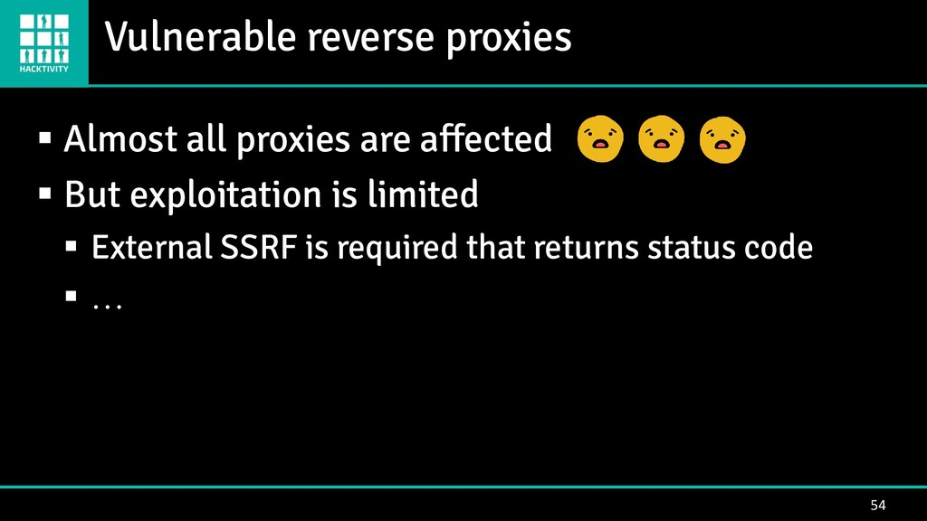 Vulnerable reverse proxies 54 ▪ Almost all prox...