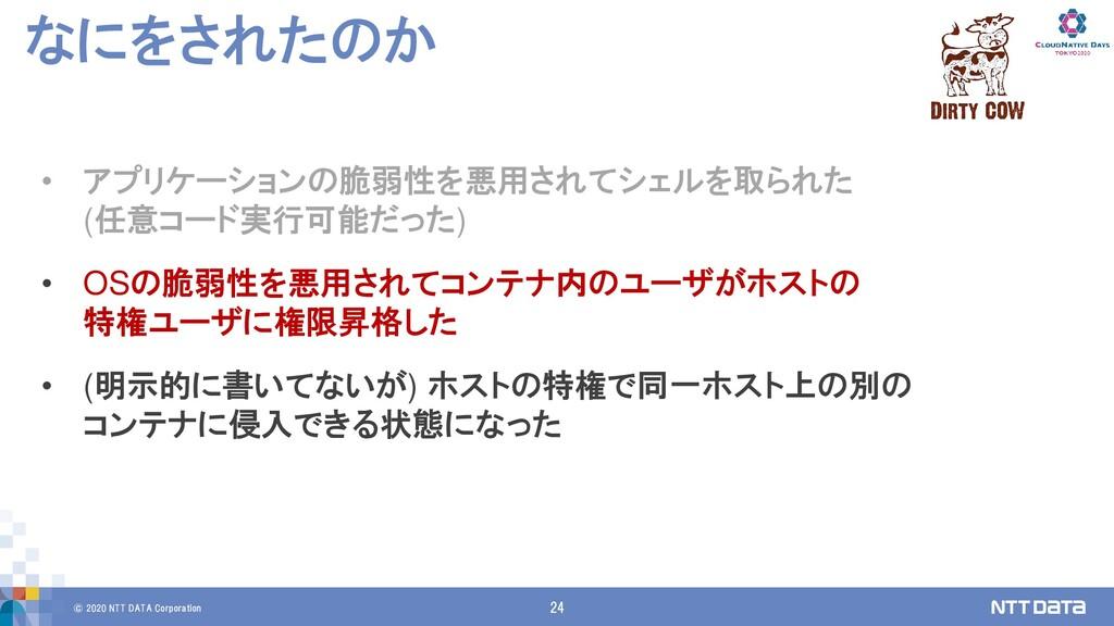 © 2020 NTT DATA Corporation 24 なにをされたのか • アプリケー...