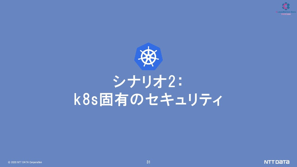 © 2020 NTT DATA Corporation 31 シナリオ2: k8s固有のセキュ...