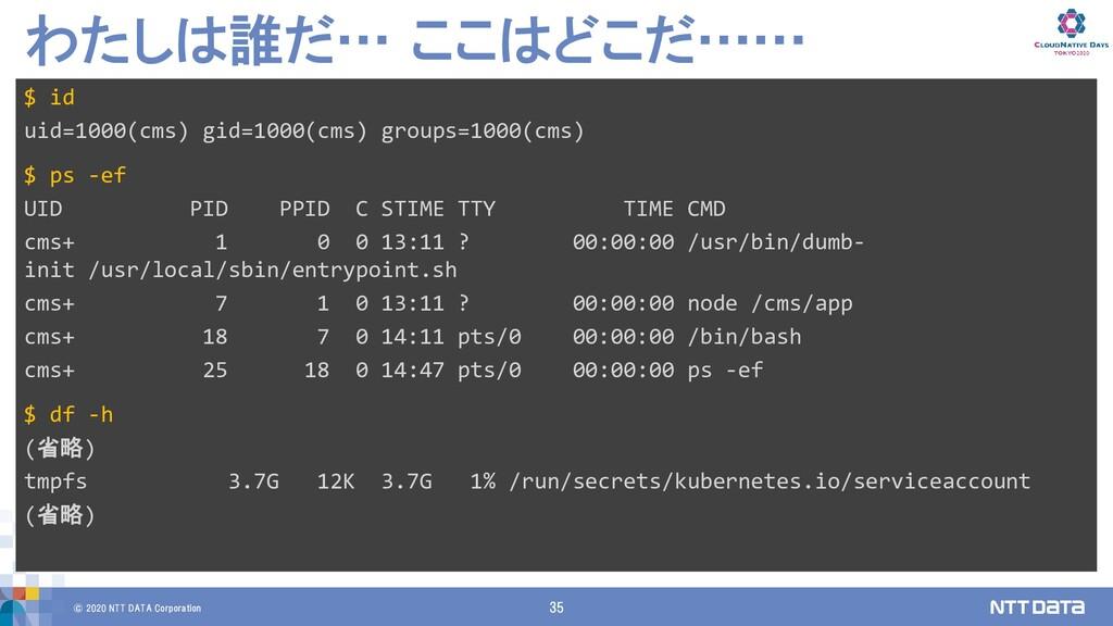 © 2020 NTT DATA Corporation 35 わたしは誰だ… ここはどこだ……...
