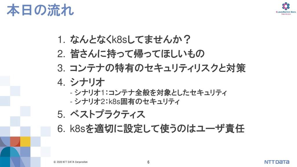 © 2020 NTT DATA Corporation 6 本日の流れ 1. なんとなくk8s...