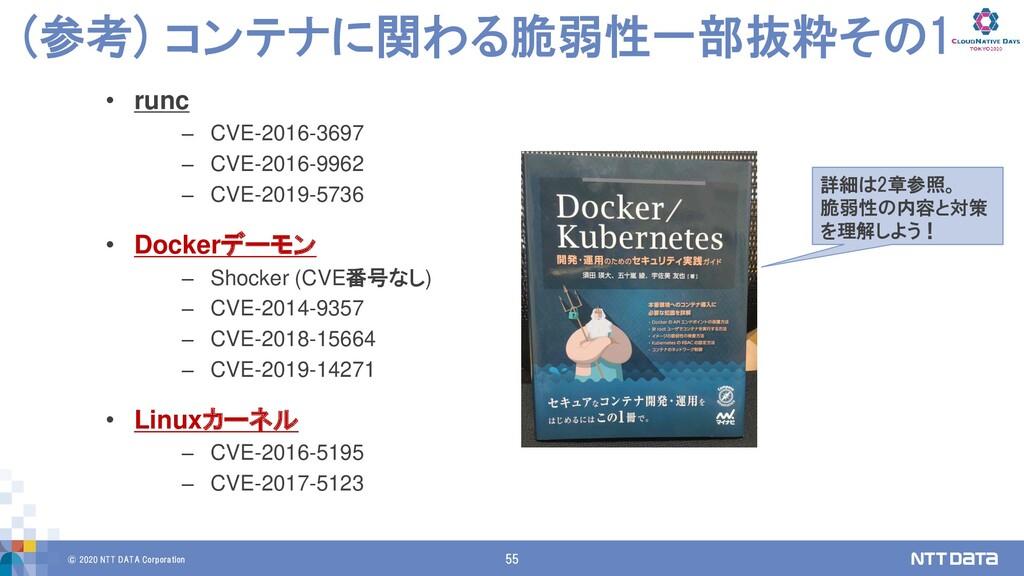 © 2020 NTT DATA Corporation 55 (参考) コンテナに関わる脆弱性...