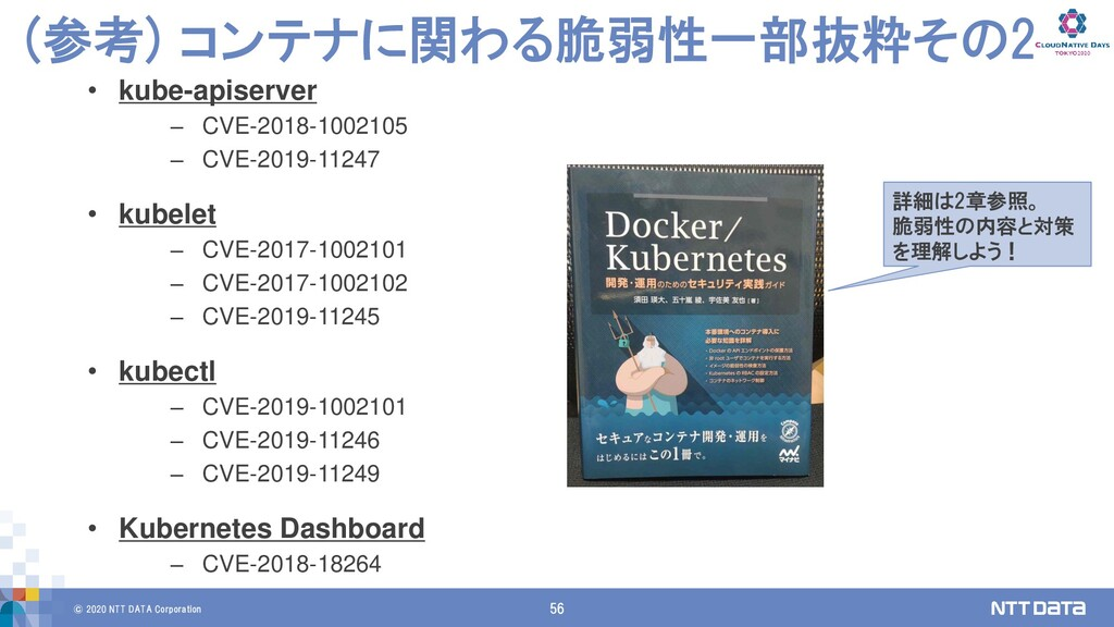 © 2020 NTT DATA Corporation 56 (参考) コンテナに関わる脆弱性...