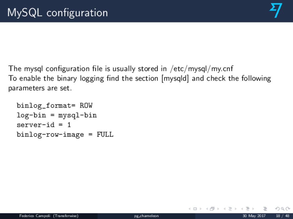 MySQL configuration The mysql configuration file i...