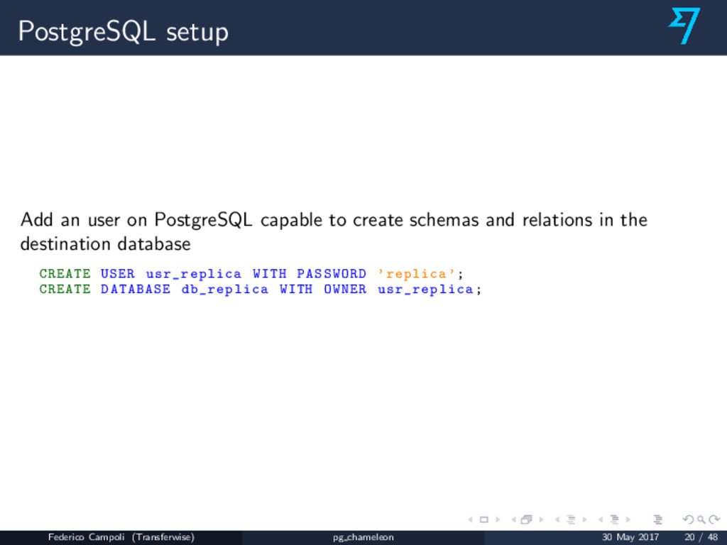 PostgreSQL setup Add an user on PostgreSQL capa...
