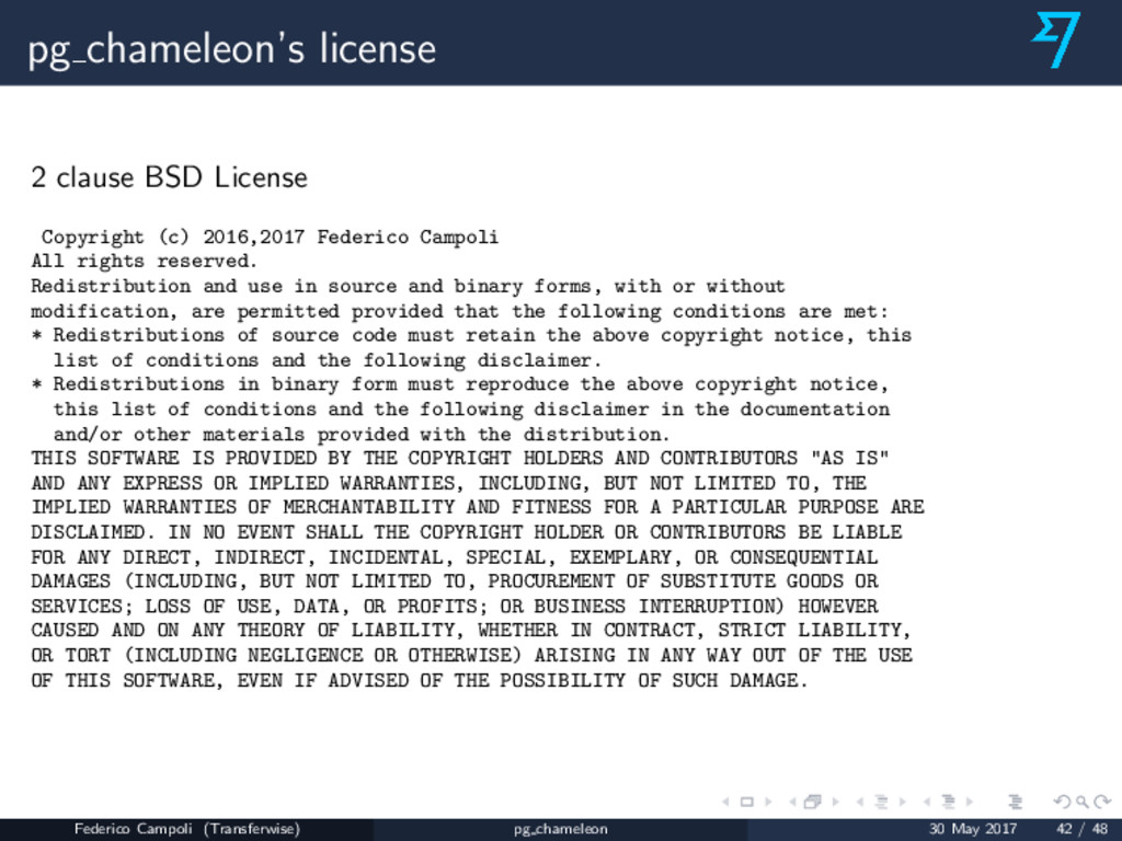 pg chameleon's license 2 clause BSD License Cop...