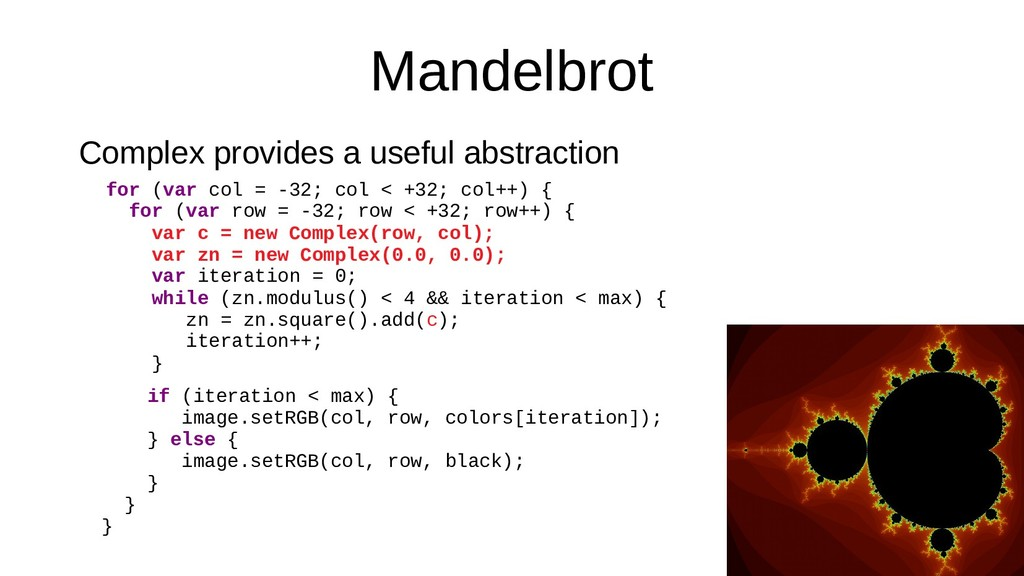 Mandelbrot Complex provides a useful abstractio...