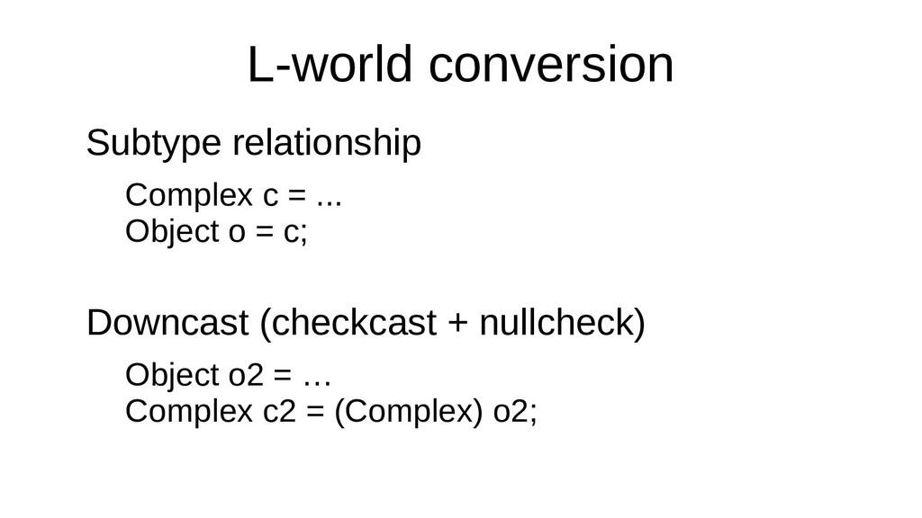 L-world conversion Subtype relationship Complex...