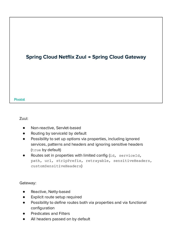 Spring Cloud Netflix Zuul → Spring Cloud Gateway...