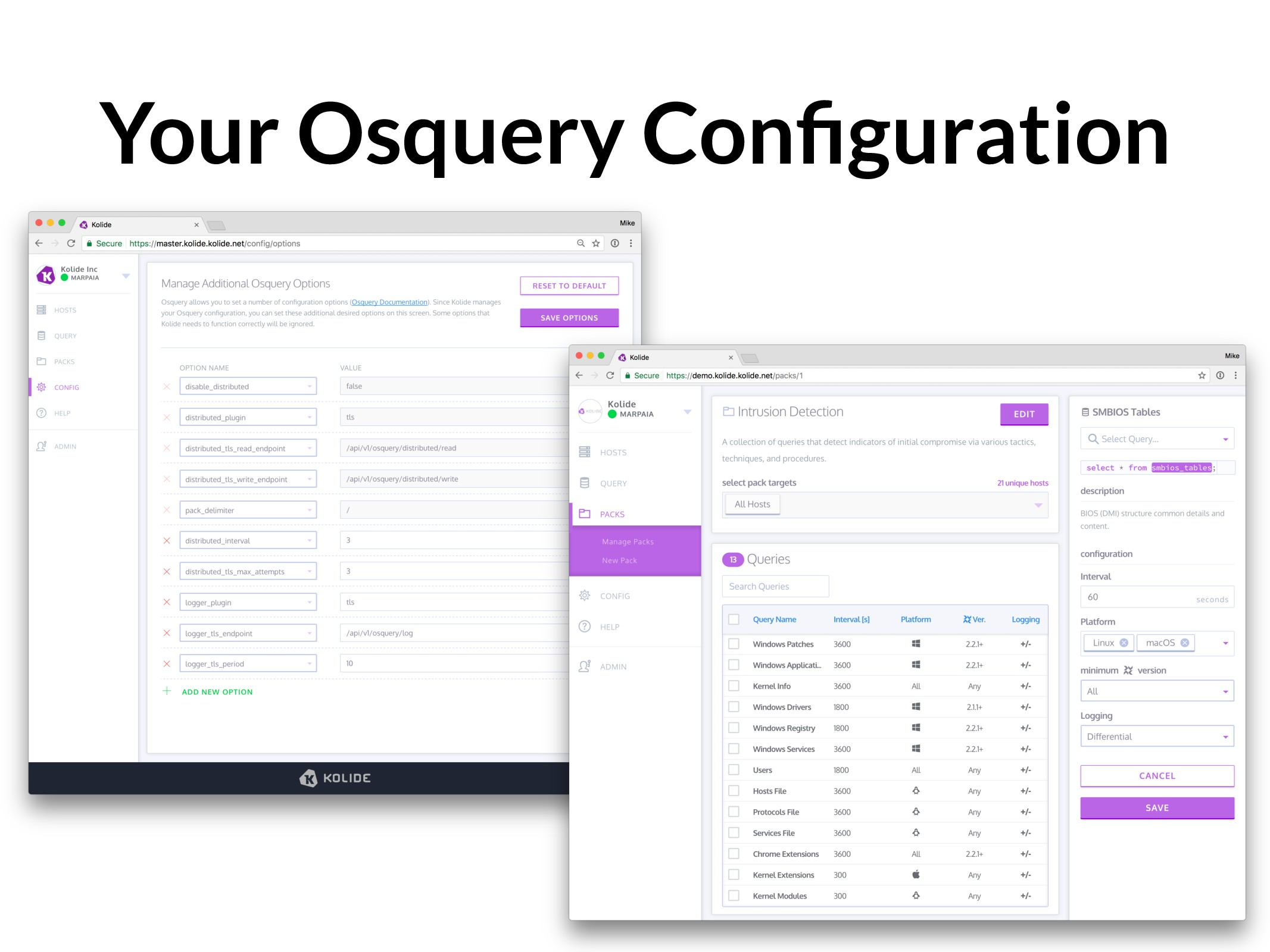 Your Osquery Configuration
