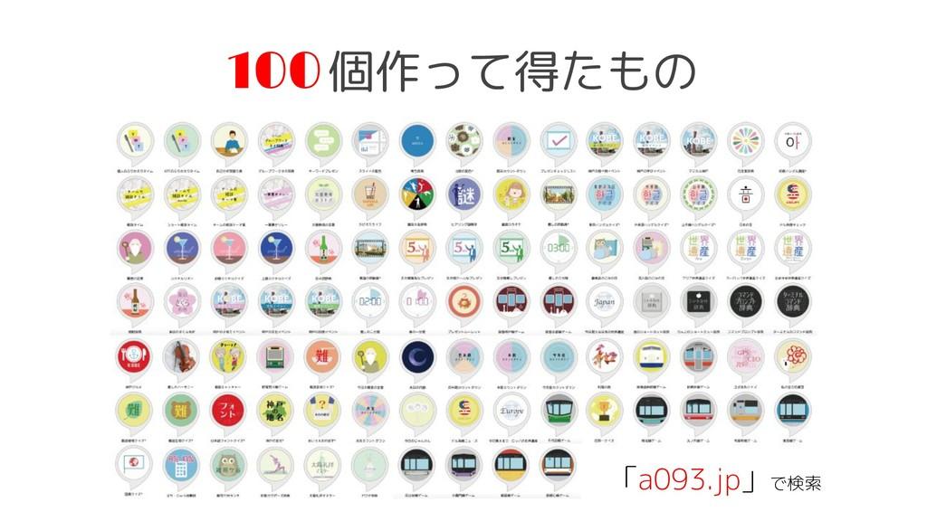 100 個作って得たもの 「a093.jp」で検索