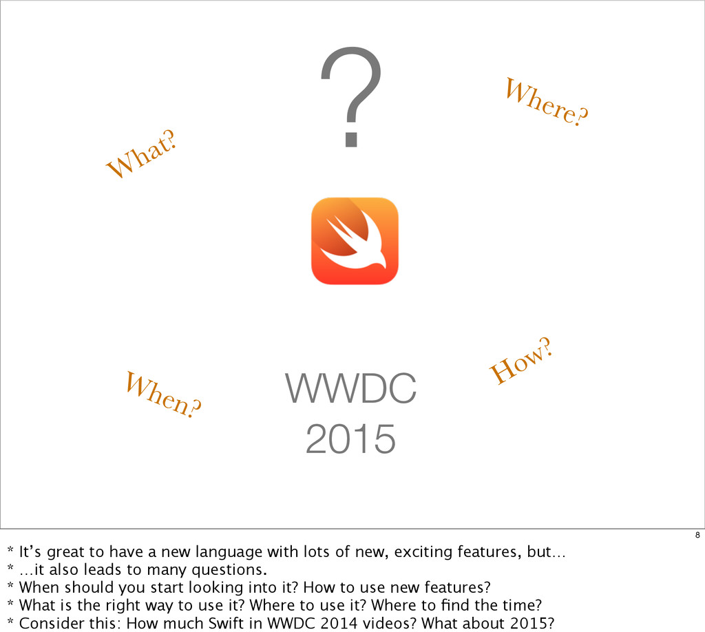 ? When? How? What? Where? WWDC 2015 8 * It's gr...