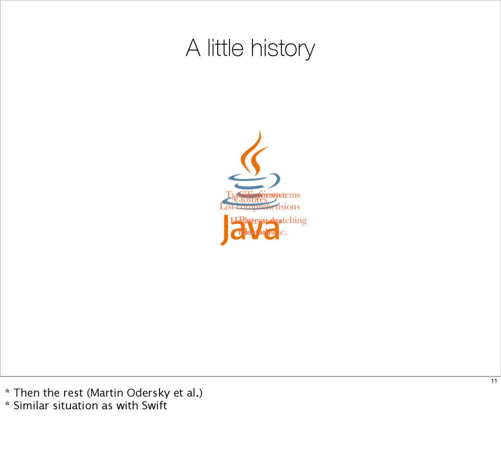 A little history Closures Types inference Types...