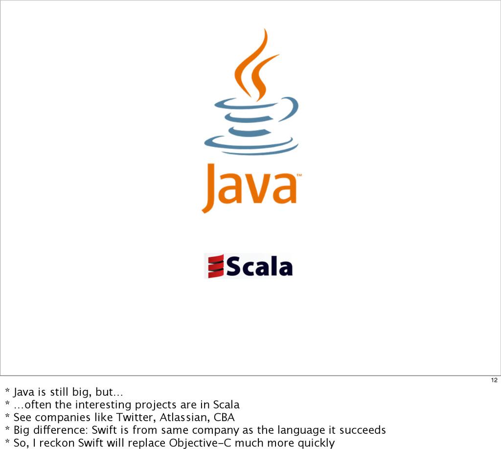 12 * Java is still big, but… * …often the inter...
